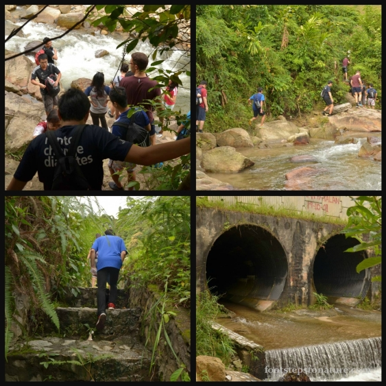 Top left: The path leads you further up the stream; Top right: Follow the rocks upstream and there'd be a path on the left; Bottom left: Walk up the steps and turn right to follow the wall back towards the stream; Bottom right: When you've reached this tunnel, you're on the right track!