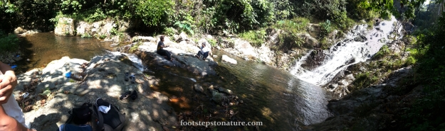 Panoramic view of Jeram Perlus fall, there are 2 small wading pools and several areas for picnic close to the waterfall. Camping sites are located just beside the second pool.