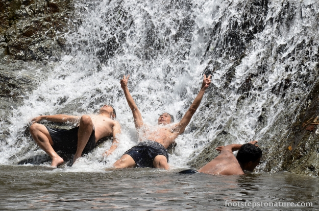 That feeling of liberation when one surrenders to be overwhelmed by icy fresh water courtesy of nature's creation.